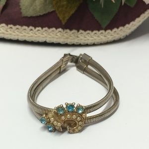 Unique Vintage Blue Crystal & Pearl Bracelet